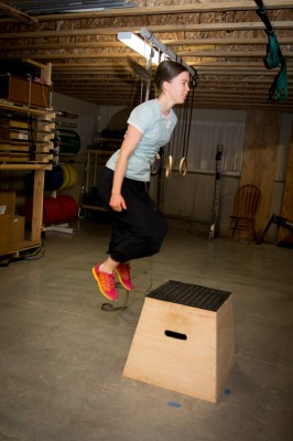 Anna doing box jumps.