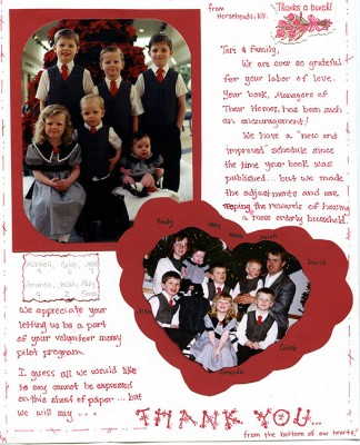 One important part of the book were those test moms. Afterward, they compiled a scrapbook full of sweet notes and pictures for Mom. I've pulled two to share with you.