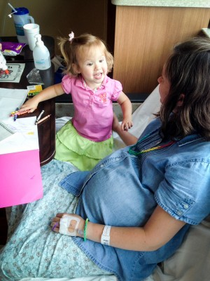Christina visiting with her mommy.
