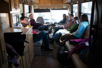 Last family Bible time in the bus (sad face).