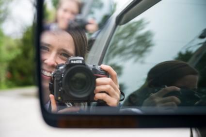 A selfie with a DSLR.