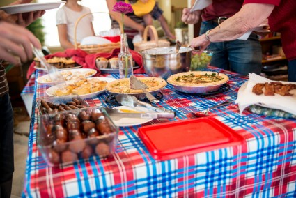 There was a bountiful spread from sausages to quiche to muffins to cinnamon rolls and more.