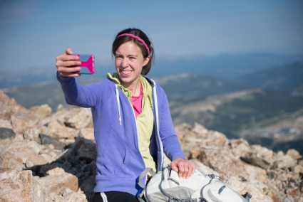 Anna taking a selfie after she summited.