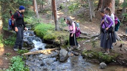 Crossing a stream.
