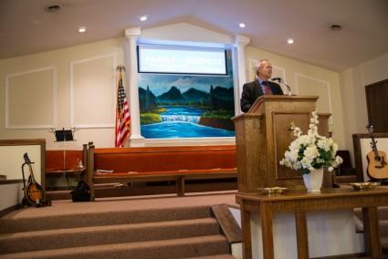 Dad preaching