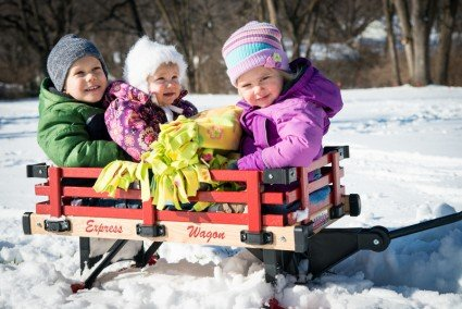 Joshua, Liddy, and Ruthie enjoyed a wagon ride in the snow. The sled runners help the wagon to glide over the snow (well, at least if you keep moving they do!).