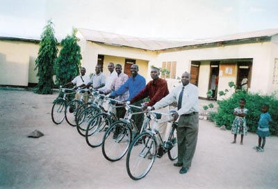 Line of bicycles being recieved
