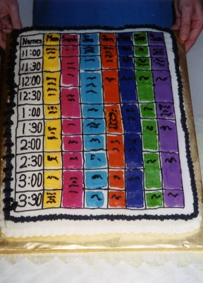 "A lady made a ""schedule cake"" for refreshments after Mom's talk."