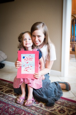 Nathan did a craft project with the girls on Memorial Day. They painted their hands like a flag and pressed them on paper. Very creative!