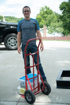 Jesse loading the bus yesterday.