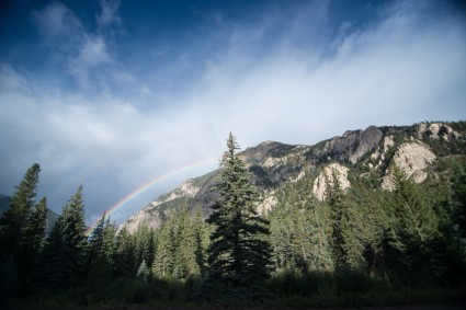 A rainbow outside our cabin one day.