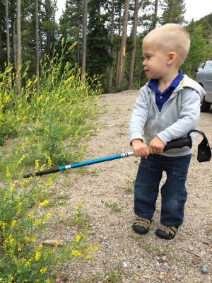 Home is where the weedeater is (thanks to Aunt Sarah's hiking pole).