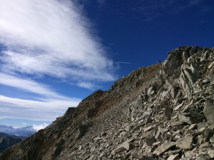 You can see the summit now--some of the family is up there on the right.