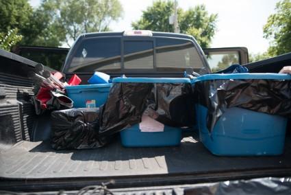 Packing John's truck.