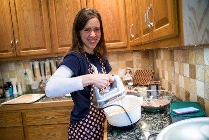 Anna making cookie dough