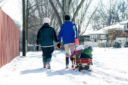 This sweet family, also known as the Christopher Maxwell's, were out for a snow walk after lunch today.
