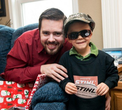 Joseph had an amazing idea. Joshua loves all brands of equipment, including Stihl. He can spell it for you too! Joseph made him a shirt, and Stihl sent Joshua a gift of the hat, sunglasses, and sticker!