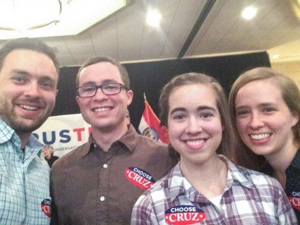 A selfie before the rally began: John, Jesse, Mary, and I